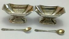 Pair Victorian Sterling Silver Open Salt Dishes & Spoons 1897