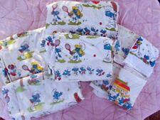 Rare vintage 1982 Smurfs Sports Day Twin Bedding Set Quilt Cover/Sheet set