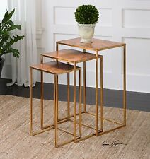 NEW AGE COPPER SHEETING TOPS THREE NESTING TABLES BURNISHED GOLD IRON BASE