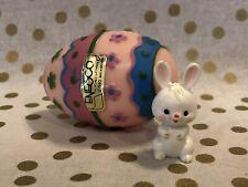 Vintage Easter Egg with Bunny Figurine 1983 Enesco Collectible