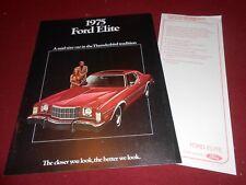 1975 FORD ELITE ORIGINAL BROCHURE / CATALOG plus UPDATE / PRODUCT CHANGES SHEET