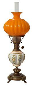 Prachtvolle Jugendstil Petroleumlampe Majolika Tischlampe 65 cm hoch