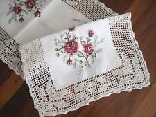 Elegant Red Rose Embroidery Wide Hand Crochet Lace White Table Runner