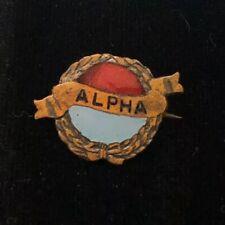 Antique Alpha Enamel Fraternity Pin