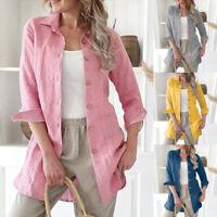 Fashion Women Cotton linen Long Sleeve Shirt Blouse Button Down Top Coat Outwear