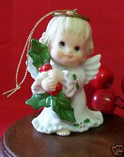 Enesco Ruth Morehead Holly Babes 1984 Angel with Holly in hands Ornament