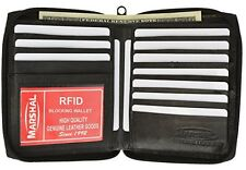 RFID Blocking Mens Leather Zippered Wallet (Black) New
