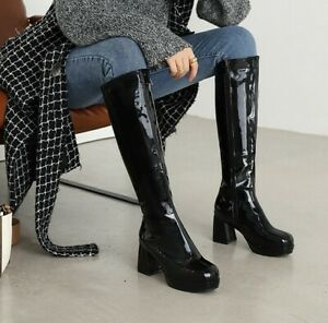 Womens Patent Leather Knee High Knight Boots Round Toe Block Heels Fashion Shoes