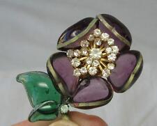 Maison Gripoix Tremblant French Brooch Vintage Haute Couture Poured Glass Deco