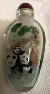 SMALL CRYSTAL GLASS REVERSE PAINTED SNUFF BOTTLE PANDA BEAR THEME