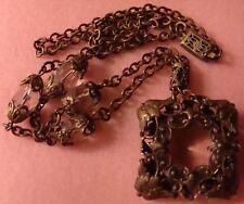 Antique Czechoslovakia Necklace Light Pink Glass Framed In Filigree Metal Beauty