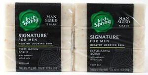 2 Irish Spring Signature Men 3 Soap Bars Exfoliating Scrub Milled Oat Body 6 oz