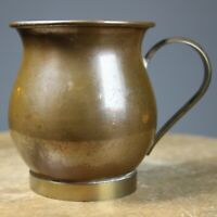 Copper plated tankard vintage antique brass base & handle breweriana collectable