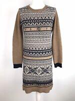 Kew Jigsaw Jumper Dress Size L 12 14 100% Merino Wool Nordic Scandi Fairisle