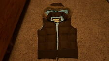 New York Classics women's brown down feather puffer vest fur hood size S EXCELLE