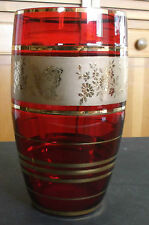 Beautiful Old RUBY RED GLASS VASE with Gold Details Butterflies & Flowers