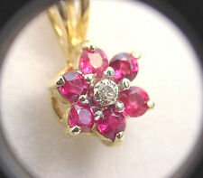 INTENSE REDDISH NATURAL SAPPHIRES .54 TCW w/ DIAMOND 14K GOLD PENDANT w/CHAIN