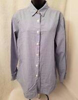 Ralph Lauren Polo Womens Blue White Plaid Button Down Shirt Top Blouse Size L