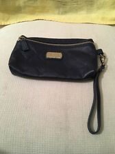 LONGCHAMP PARIS CUIR NAVY BLUE WRISTLET POUCH LEATHER WALLET NWOT.
