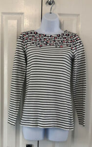 Ladies Joules Animal Print Striped Stretch Top UK Size 8 100% Cotton