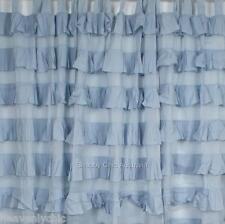 Shabby French Petticoat Ruffle Curtains Drapes Sheer Blue 2 Ruffled Panels Chic