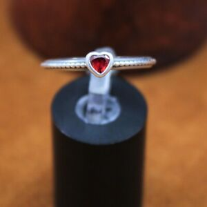"""Pandora ALE Synthetic """"Ruby Heart"""" One Love Ring 7.25 Sterling Silver 190896sgr"""