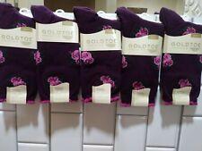 5-GOLDTOE Premier Fashion Pima Cotton Socks Rose Bouquet Burgundy Shoe Size 6-9