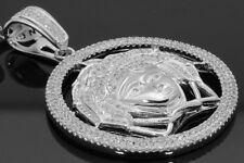 "2.04 CARAT MENS WHITE GOLD FINISH 2"" DIAMOND MEDUSA HEAD GREEK PENDANT PIECE"