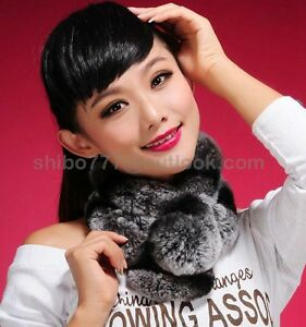 Real genuine rex rabbit fur wraps ball shawls for wome real fur scarves