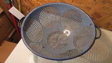 Antique Blue Speckled Graniteware Colander