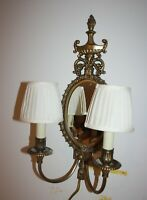 Wall Mount Victorian Brass Double Arm Light Sconce with Oval Mirror + Shades