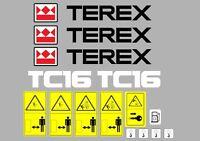 Terex Tc16 Etiquetas de la Excavadora y Pegatinas De Advertencia