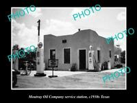 OLD LARGE HISTORIC PHOTO OF MOUTRAY OIL COMPANY SERVICE STATION c1930s TEXAS