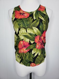 Vintage Marnie West 100% Rayon Tropical Hibiscus Tank Top Leaves Boho Retro XS S