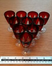 More details for 10 retro  french ruby red overlay wine/sherry glasses in excellent condition
