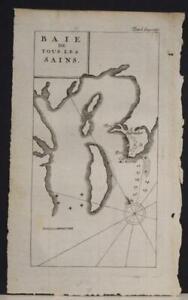 BAY OF ALL SAINTS BRAZIL 1712 WILLIAM DAMPIER SACRCE ANTIQUE COPPER ENGRAVED MAP