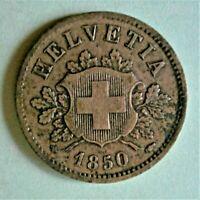 Switzerland 1850 (10) Rappen Coin