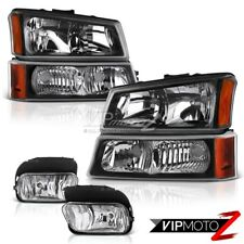 2003-2006 Chevy Silverado 1500 2500 3500 Black Corner Bumper Headlights Foglamps