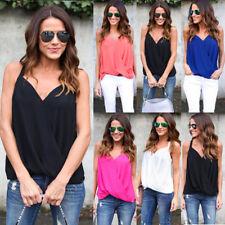 Women Summer Sleeveless Vest Wrap Tops Ladies Casual V Neck Chiffon Blouse Shirt
