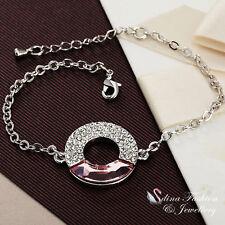 18K White Gold Plated Made With Swarovski Element Light Pink Circle Bracelet