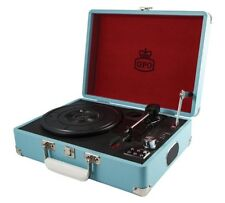 GPO Attache 3 Speed Portable USB Turntable Record Player Vintage Blue RRP£70