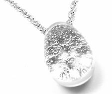 Authentic! Cartier Myst de Cartier Rock Crystal Diamond 18k Gold Dome Necklace