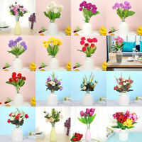 6/12 Head Artificial Tulips Fake Silk Flowers Bouquet Home Wedding Party Decor