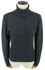 Authentic FENDI Vintage FF Zucca Logo Sweater Tops #40 Wool Dark Gray Rank AB