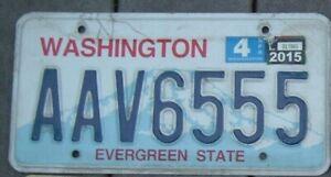 WASHINGTON State 2015  License Plate  Man Cave Bar Garage  AAV 6555   Triple 5 s