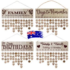 Family Birthday Board Plaque DIY Hanging Wooden Birthday Reminder Calendar Gift