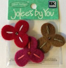 RED TRILLIUM Embellishment(3pc) Jolee's•Garden•Blooms•Pansy•Flower •Seed Bead
