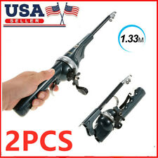 2Pcs 133cm Folding Telescopic Fishing Rod Pole Portable Rod Reel Tackle Usa L2V1