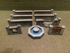 15mm Painted Terrain Walls Used Unbranded (9 pieces)