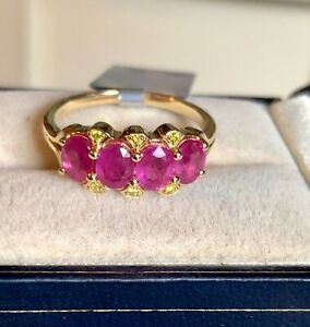Genuine Ruby & Yellow Diamond Ring Y Gold Size N 1/2 (US Size 7) 'CERTIFIED'